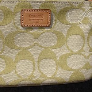 Coach Bags - Coach Canvas Pastel Green and Leather Wristlet